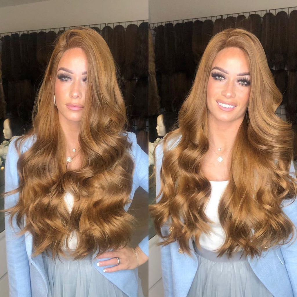 Long Brown Honey Curly Lace Front Wig | 100% Lace Front Wig - Maxky Design