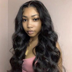 Glueless Full Lace Human Hair Wigs Natural Black Color Loose Wave Style| 100% Lace Front Wigs