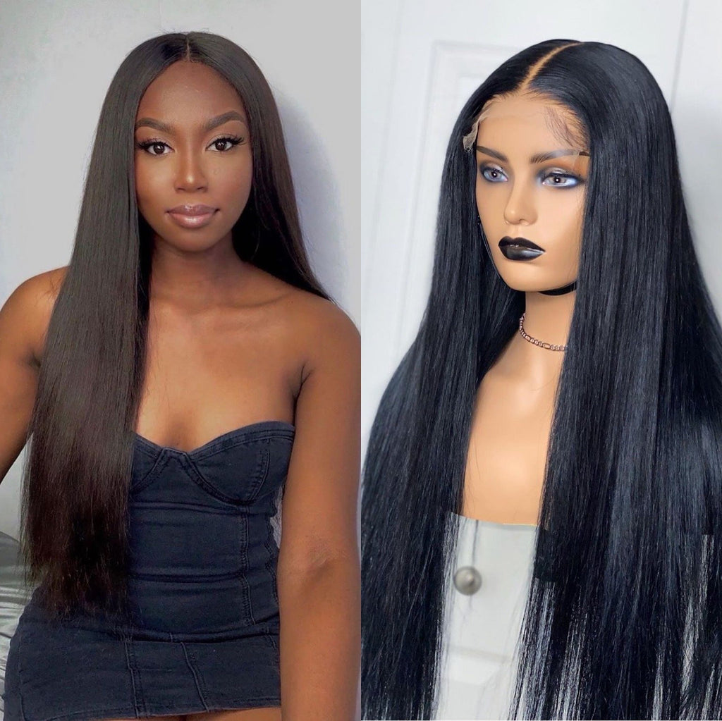 Swiss Lace Natural Black Straight Hair 5x5 Lace Closure Wig | 100% Lace Front Wigs