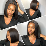 Fishline Glueless Human Hair Wig Fake Scalp 360 Bob Straight | 100% Lace Front Wigs