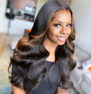 Invisible Knots + 5x5 Swiss Lace Human Hair Wig Ombre Brown Hair Body wave Style | 100% Lace Front Wigs
