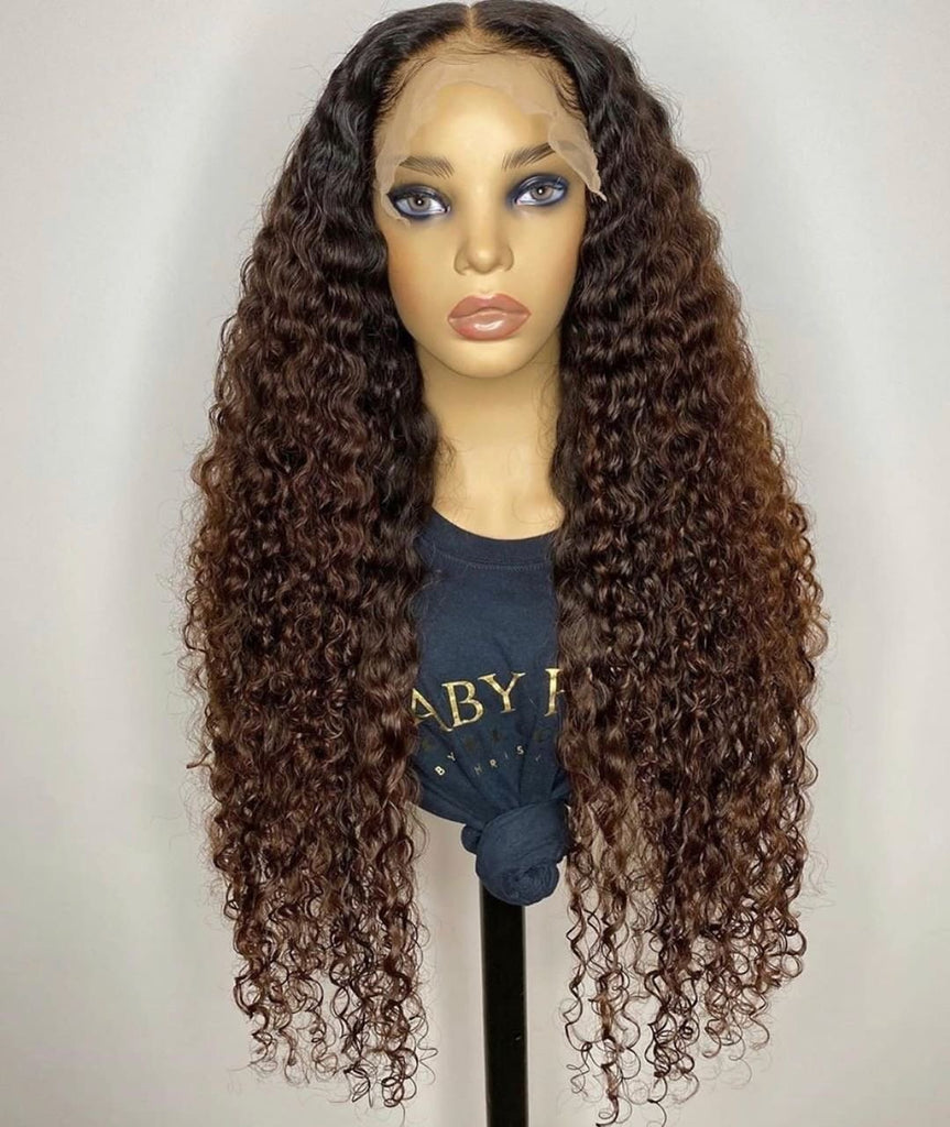 Lace Frontal Human Hair Wig Kinky Curl Style Ombre Brown Color | 100% Lace Front Wigs