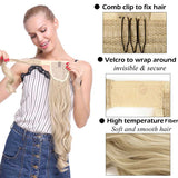 Long clip in ponytail hair extension wrap around ponytail