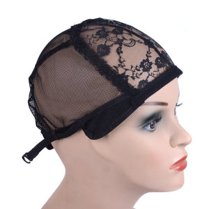 Wig cap for making wigs with adjustable strap on the back weaving cap size glueless wig caps good quality Hair Net Black - Maxky Design