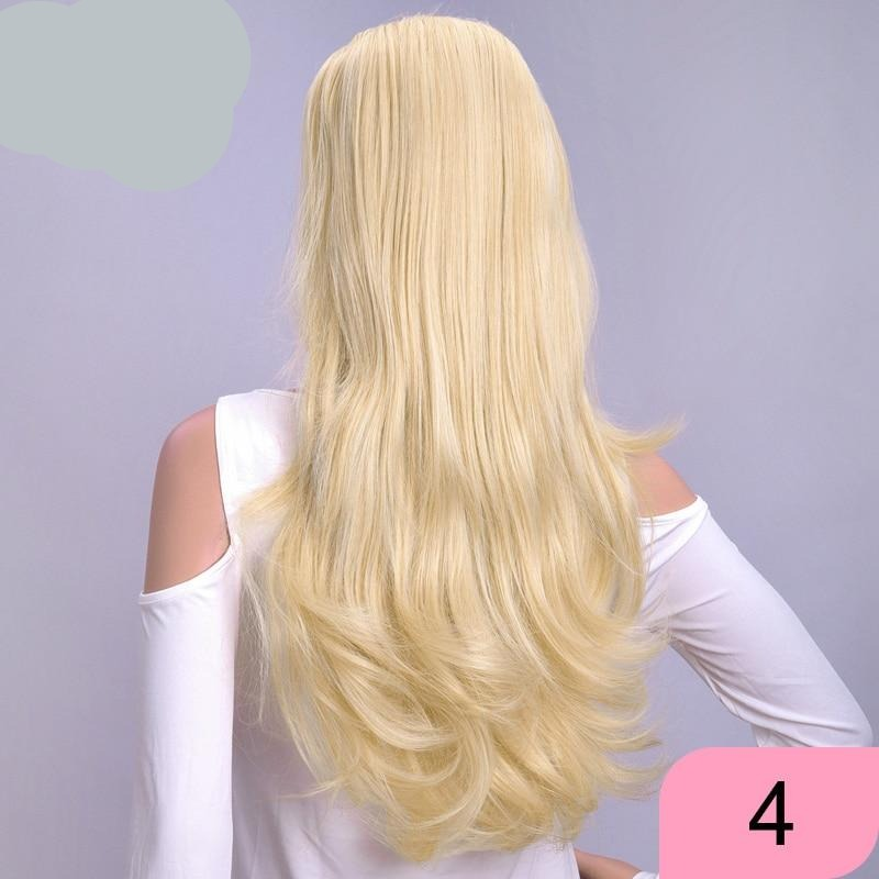 Half Wig Long Synthetic Hair Extensions Ombre Blonde Capless Wigs