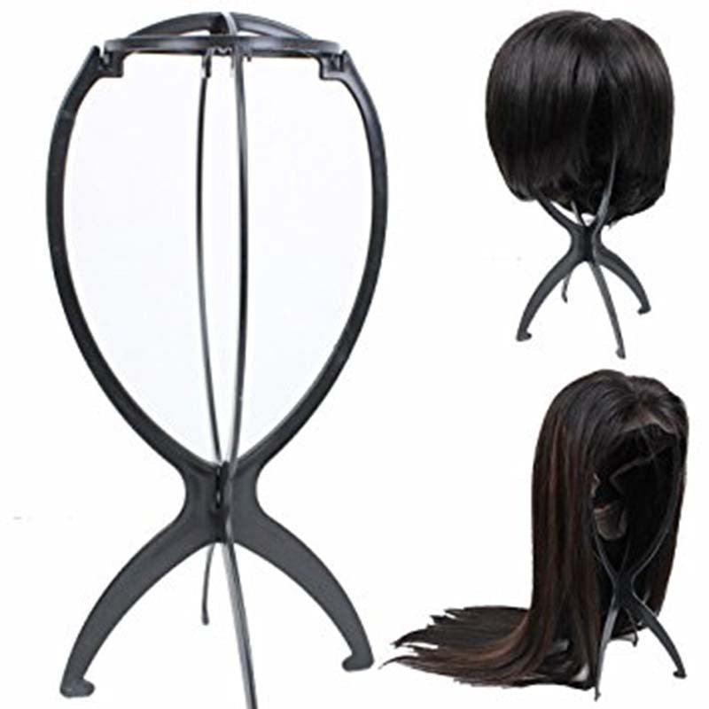 1 PC Portable Adjustable Black Wig Stand Salon Durable Plastic Folding Wig Holder Mannequin Head/Hairpiece Support Display Tool - Maxky Design