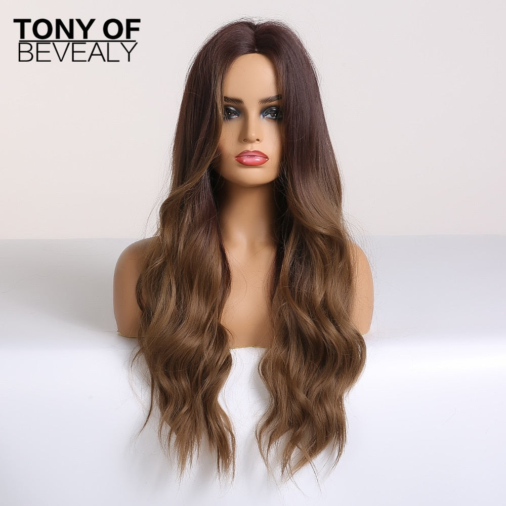 Brown Middle Part Natural Wigs 11 Colors - TONY OF BEVERLY