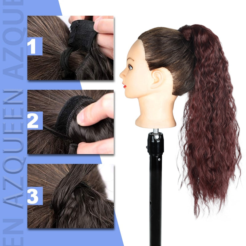 Wavy Long Ponytail Hairpiece Wrap on Clip Hair Extensions Ombre Brown