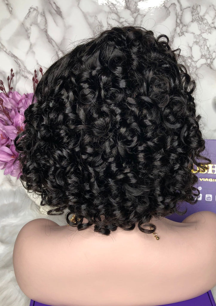 Pre Plucked Cute Short Curly Bob Wig Lace Front Human Hair Lace Wig Full Lace Wig | Cute Curly | 100% Lace Front Wigs
