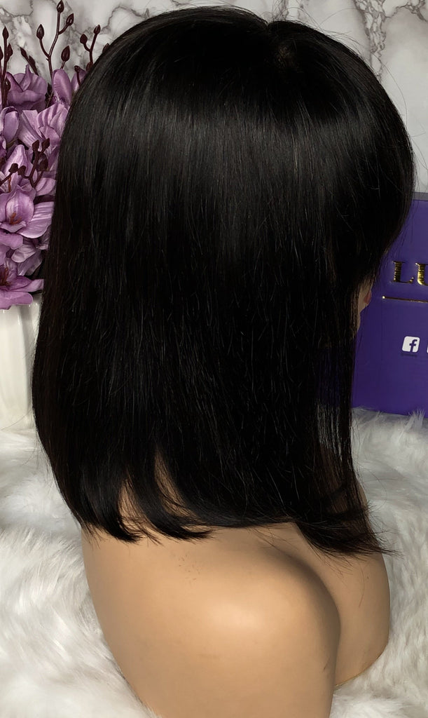 Pre Plucked Short Bob Wig With Bang 13*6 Lace Front Human Hair Lace Wig Silky Straight  | 100% Lace Front Wigs