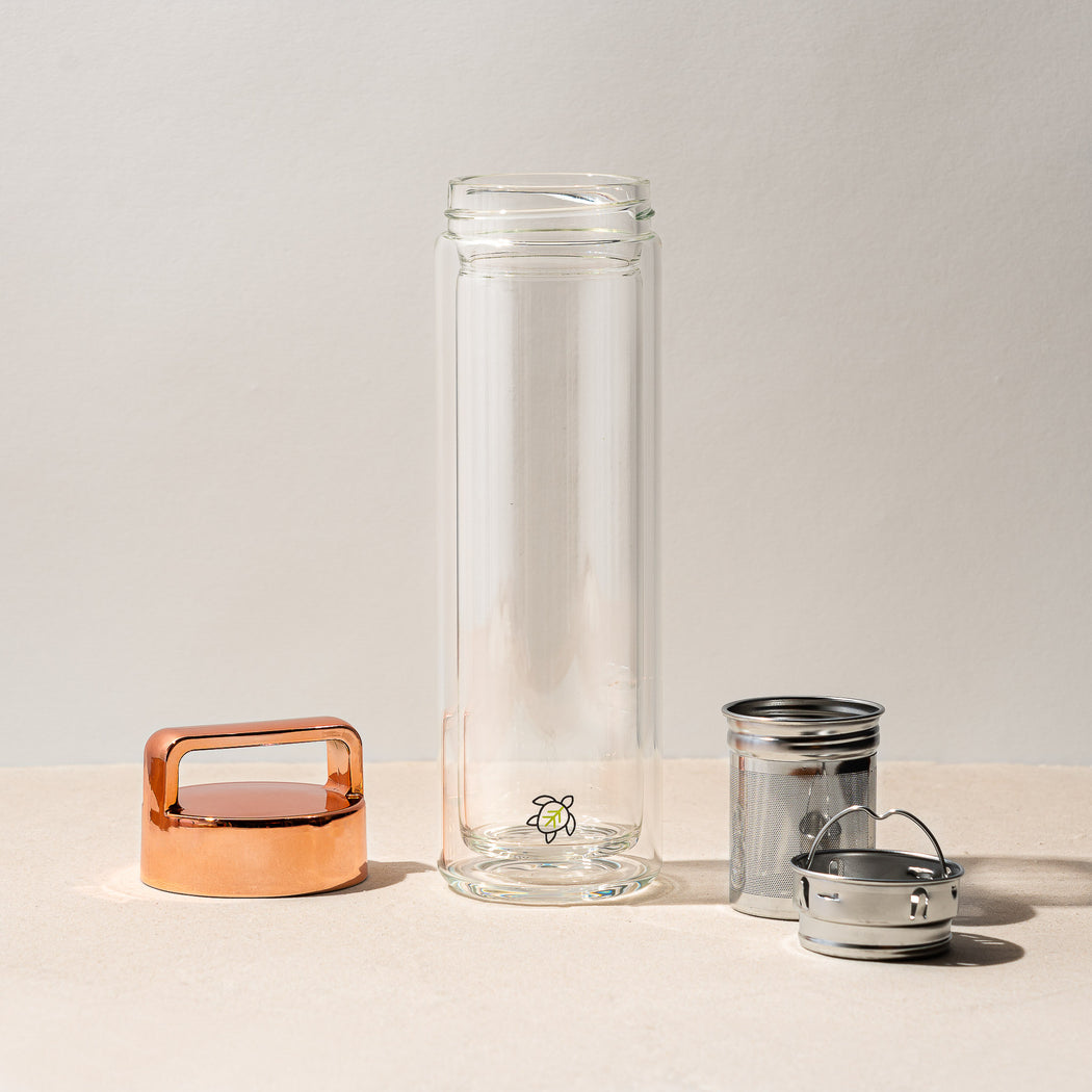 Rose Gold Glass Infuser Bottle