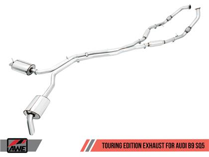 AWE Tuning Audi B9 SQ5 Resonated Touring Edition Cat-Back Exhaust - No Tips (Turn Downs)