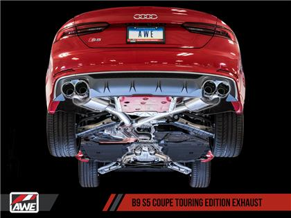 AWE Touring Edition Exhaust for Audi B9 S5 Coupe - Diamond Black 102mm Tips
