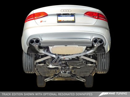 AWE Track Edition Exhaust for Audi B8.5 S4 3.0T - Chrome Silver Tips (102mm)