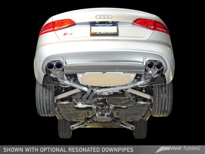 AWE Touring Edition Exhaust for Audi B8 S4 3.0T - Chrome Silver Tips (90mm)