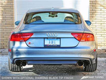 AWE Touring Edition Exhaust for Audi C7 S7 4.0T - Diamond Black Tips