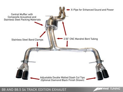 AWE Track Edition Exhaust for Audi B8 S4 3.0T - Chrome Silver Tips (90mm)