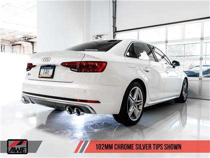 AWE Touring Edition Exhaust for Audi B9 S4 - Chrome Silver 102mm Tips