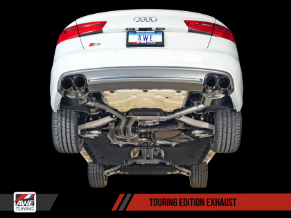AWE Touring Edition Exhaust for Audi C7/C7.5 S6 4.0T - Polished Silver Tips
