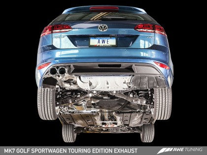 AWE Touring Edition Exhaust for VW MK7(2015-2017) Golf SportWagen - Chrome Silver Tips (90mm)