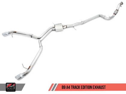 AWE Track Edition Exhaust for B9 A4, Dual Outlet - Chrome Silver Tips (includes DP)