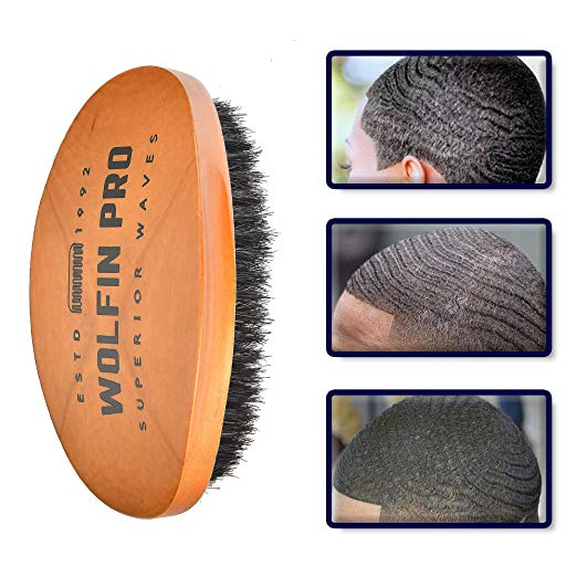 Premium Wolfin Pro Curved 360 Wave Brush, 100% Natural Schima Superba Wood