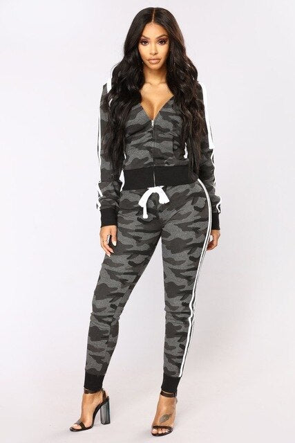Camouflage Color Printed Hooded Suits for Women With Free Durag