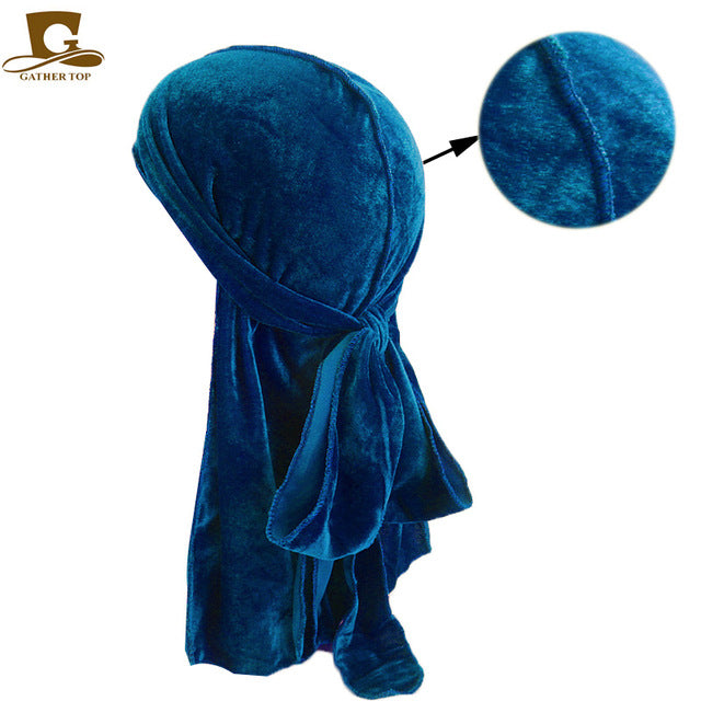Unisex Men Women Breathable Bonnet Hat velvet Durag long tail