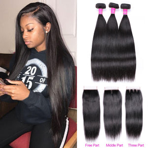 Straight Hair Bundles With Closure Brazilian