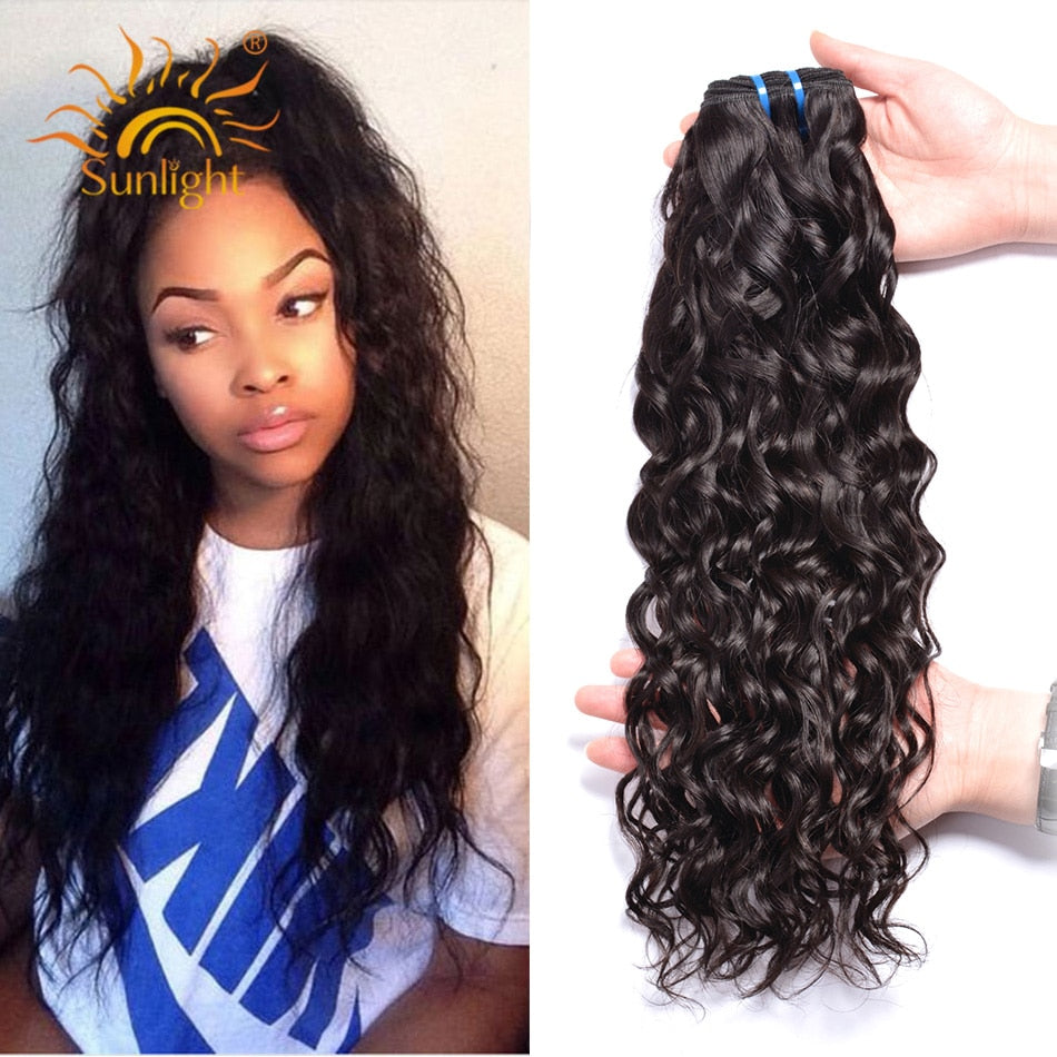 Brazilian Water Wave Bundles Sunlight Human Hair Weave Bundles Natural Water #1B