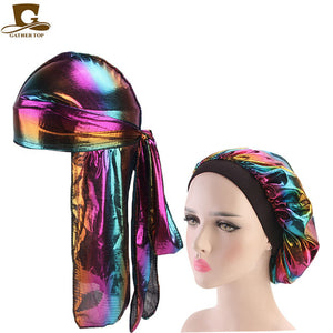 Fashion Men's Durag Headwear Durags and Bonnets Women  Comfortable Cap Couple 2pcs sets