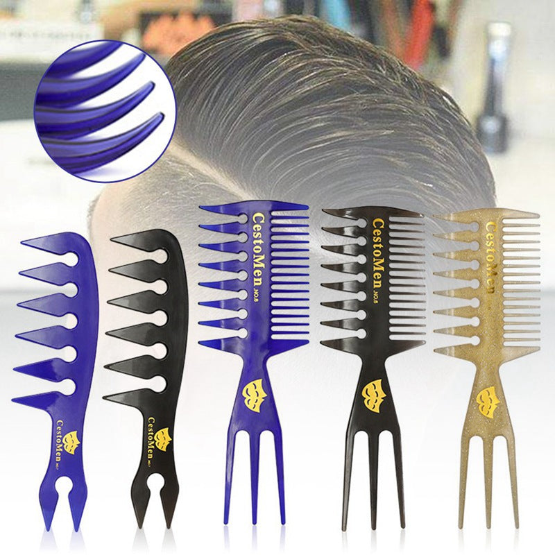 Pro Double Side Tooth Combs Fish Bone Shape Hair Brush Barber