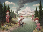 "Marion Peck ""RED CLOWNS IN A LANDSCAPE"""