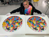 Okuda signing Love in Pandemia prints