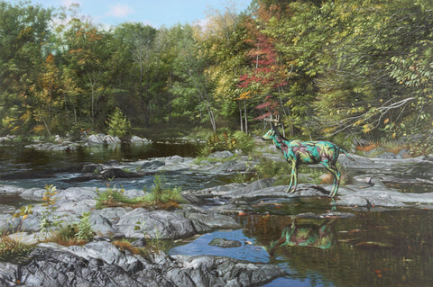 "Ron English ""CAMO DEER AT BEACON WATERFALL"""