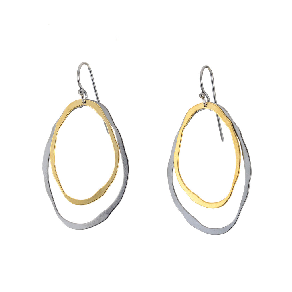 Large Two Layer Thin RC Two-Tone Earrings by Lisa Crowder