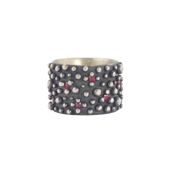 NEW! Oxidized Sterling Silver Bumpy Band with Pink Sapphires by Dahlia Kanner