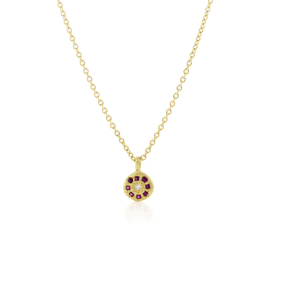 Floret Charm with Rubies by Adel Chefridi - Fire Opal