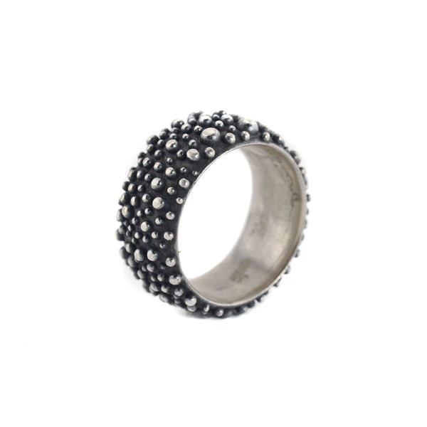 10mm Oxidized Sterling Silver Bumpy Band by Dahlia Kanner
