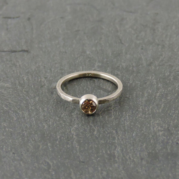 Gray Gold Ring with Champagne Diamond by EC Design - Fire Opal - 1