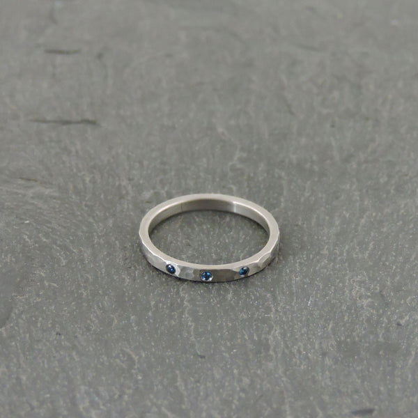 Palladium Band with Blue Diamonds by EC Design - Fire Opal - 1