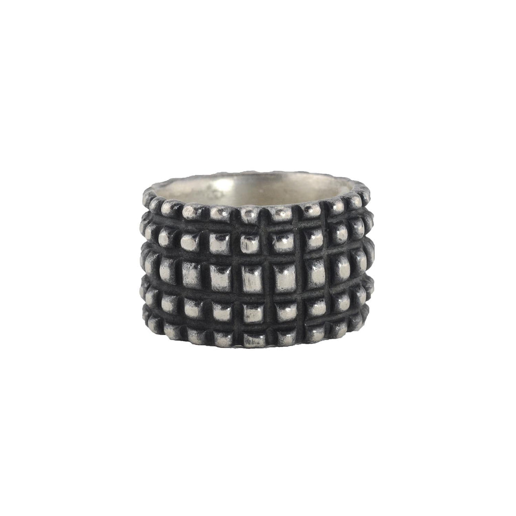 Oxidized Sterling Silver The Grid Band by Dahlia Kanner
