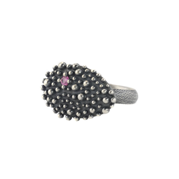 NEW! Oxidized Sterling Silver Bumpy Oval with Pink Sapphire by Dahlia Kanner