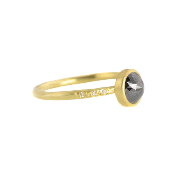 1ct Black Rosecut Diamond Chloe Setting Ring by Sarah Mcguire