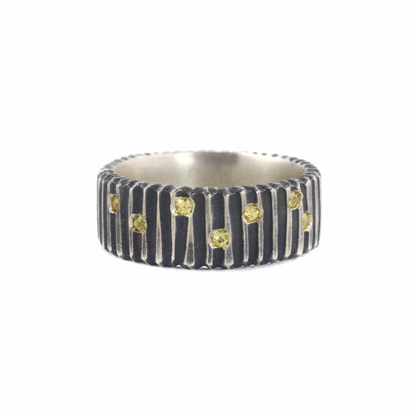 Oxidized Silver R DIG with Yellow Sapphires by Dahlia Kanner