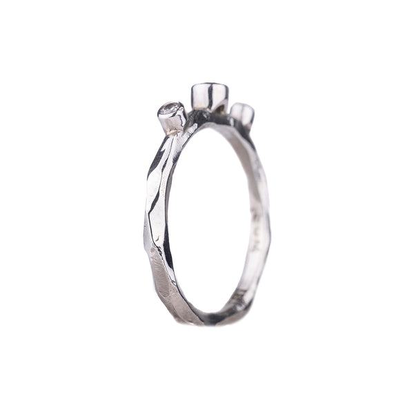 SALE! Cognac and Double White Diamond Rogue River Ring in White Gold by Sarah Graham