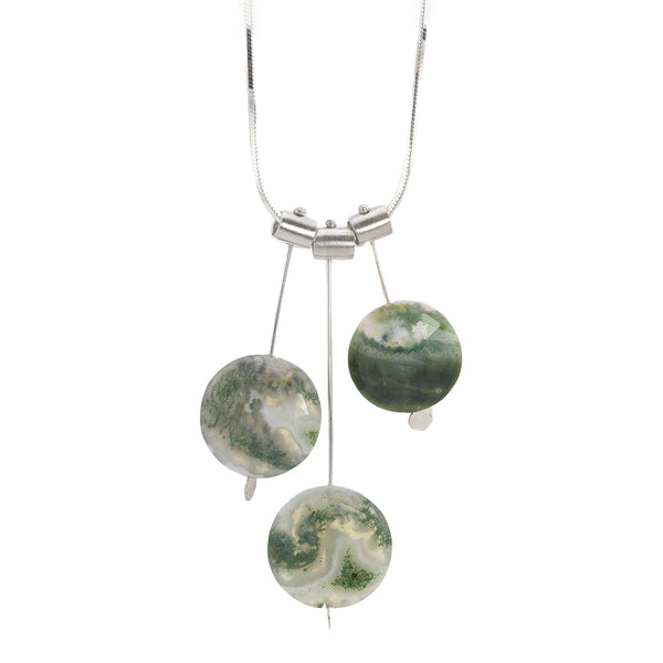 NEW! Three Pivot Petal Moss Agate Necklace by Serena Kojimoto