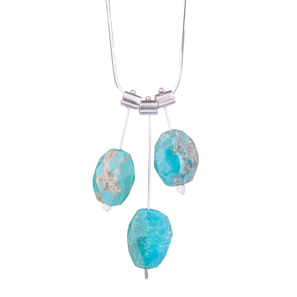 NEW! Three Pivot Petal Turquoise Necklace by Serena Kojimoto