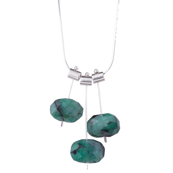 NEW! Three Pivot Petal Emerald Necklace by Serena Kojimoto