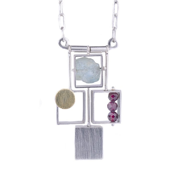 NEW! 4 Rectangles with 18k Bi-Metal Dot and Stones by Ashka Dymel